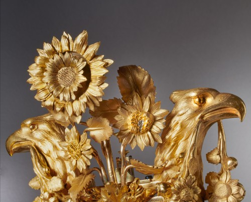 Horology  - Louis XVI gilt bronze and Sèvres porcelain skeletonised lyre clock