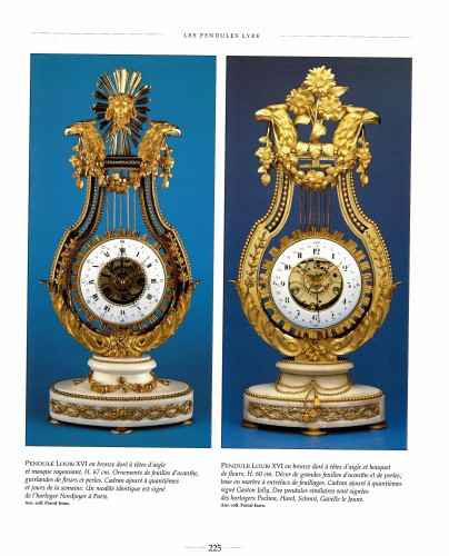 18th century - Louis XVI gilt bronze and Sèvres porcelain skeletonised lyre clock