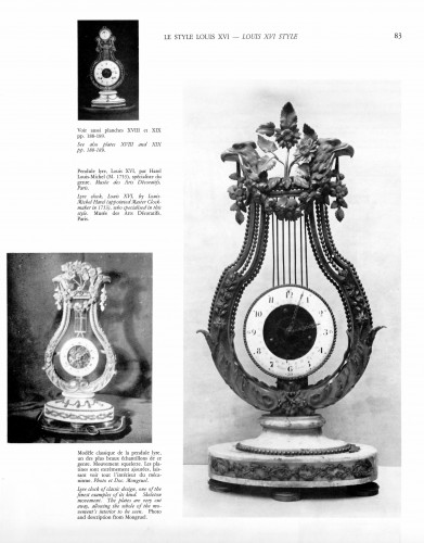Louis XVI - Louis XVI gilt bronze and Sèvres porcelain skeletonised lyre clock