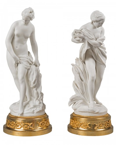 A pair of Louis XV gilt bronze mounted Sèvres figurines