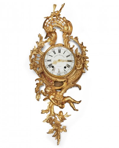 A Louis XV gilt bronze cartel clock by Charles Baltazar