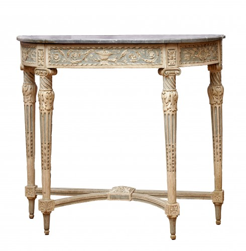 A Louis XVI demi-lune console table stamped by Jean-François Dubut