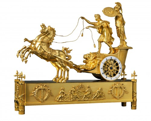 An Empire gilt bronze chariot clock of eight day duration housed