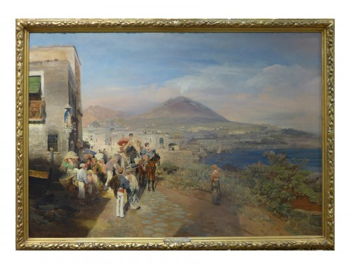 """""""Traveller at the Golf of Naples"""" - Oswald Achenbach (1827-1905)"""