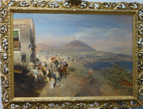 """""""Traveller at the Golf of Naples"""" - Oswald Achenbach (1827-1905) - Paintings & Drawings Style"""