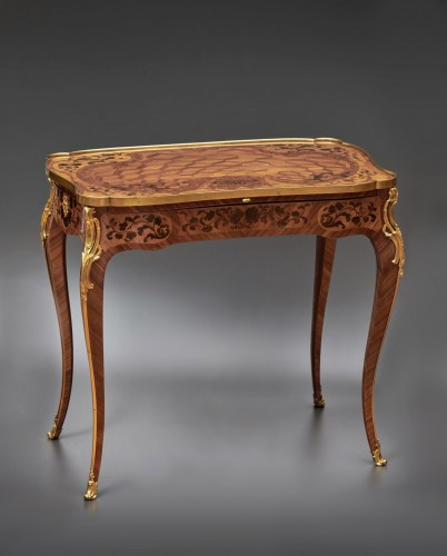 Furniture  - A Louis XV gilt bronze mounted parquetry kingwood à ecrire