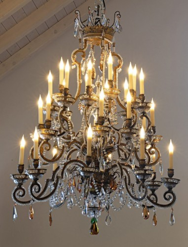 An Italian nineteenth century gilt bronze and clear and coloured glass  - Lighting Style
