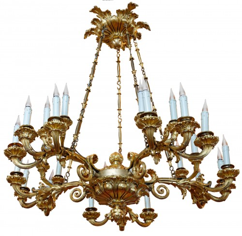 A Russian early nineteenth century gilt bronze twenty-five light chand