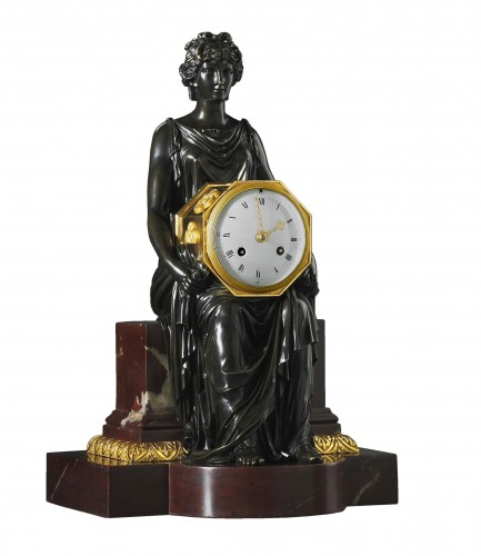 An Empire marble clock, attributed to Pierre-Philippe Thomire