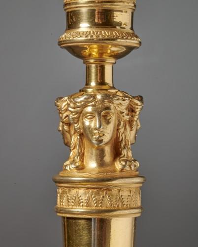 A set of six Empire gilt bronze figural candlesticks - Lighting Style Empire