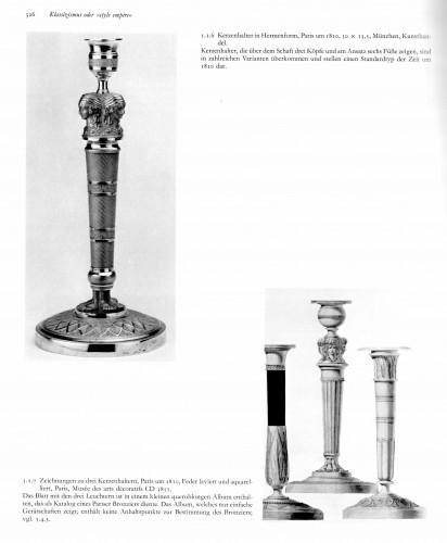 19th century - A set of six Empire gilt bronze figural candlesticks