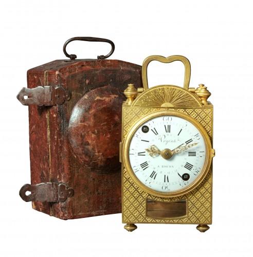 A Louis XVI travelling clock of eight day duration, Végéax à Roüen.