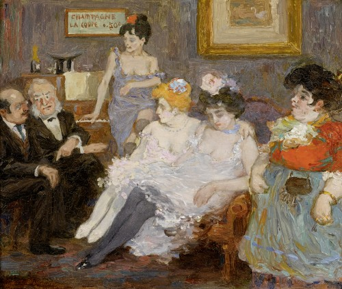 Champagne, la coupe 050 c . - attributed to Jean-Louis Forain,  (1852 - 1931)