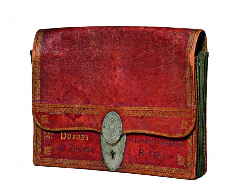 A Louis XVI red Moroccan leather portefeuille