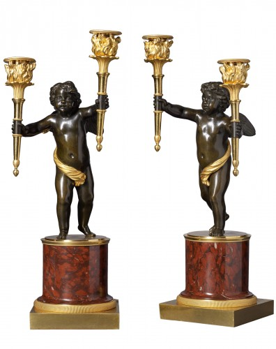 A pair of Empire gilt and patinated bronze and marble candelabra