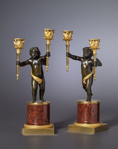 A pair of Empire gilt and patinated bronze and marble candelabra - Lighting Style Empire