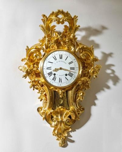 A Louis XV gilt bronze cartel clock by Jean-Baptist II Dutertre - Horology Style Louis XV