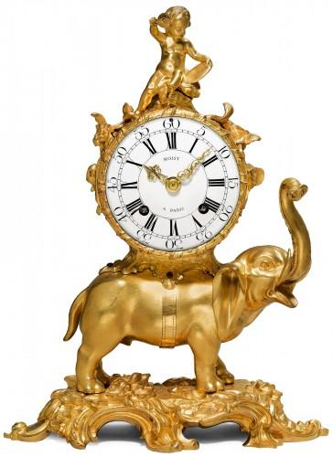 A Louis XV gilt bronze Pendule 'À L'Éléphant by Jean Moisy