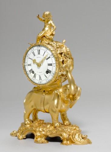 A Louis XV gilt bronze Pendule 'À L'Éléphant by Jean Moisy -