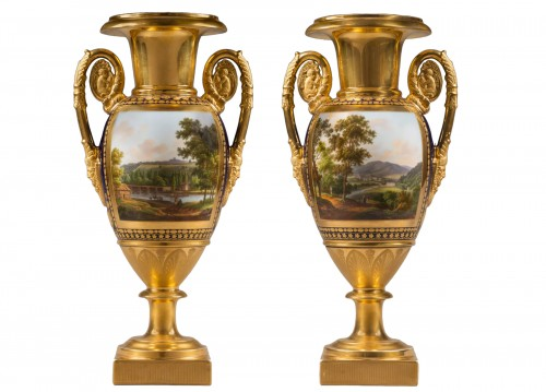 A pair of Restauration gilt and polychrome two-handled vases