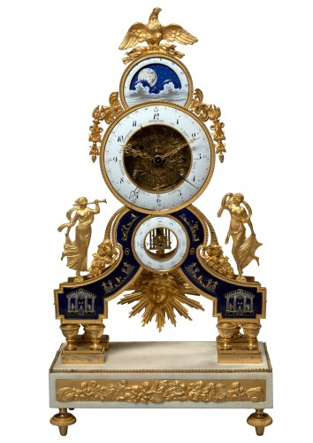 A Directoire gilt bronze, enamel  and white marble skeleton clock