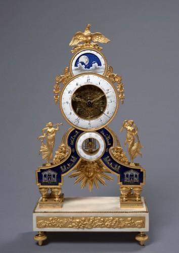 A Directoire gilt bronze, enamel  and white marble skeleton clock - Horology Style Directoire