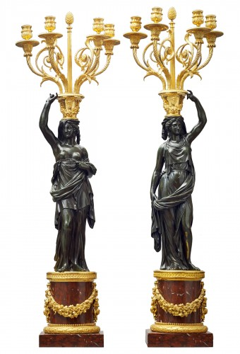 A large pair of Louis XVI candelabra attributed to François Rémond