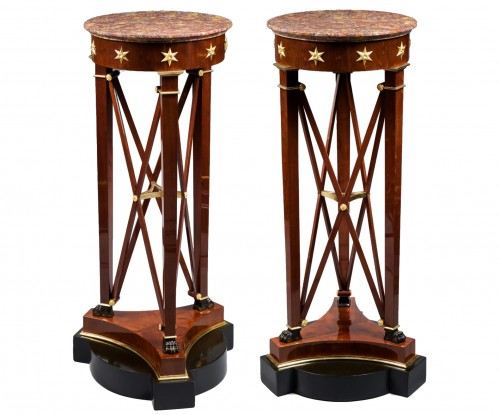 A pair of Empire of pedestal sellettes attributed to Jacob-Desmalter et Cie