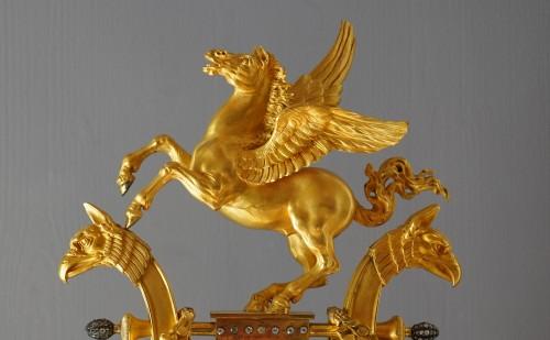 Horology  - A Louis XVI lyre clock, signed by Manière à Paris