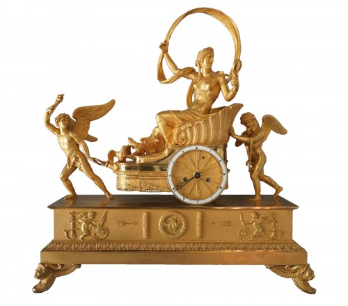 An Empire gilt bronze chariot clock by Louis Moinet case by Thomire