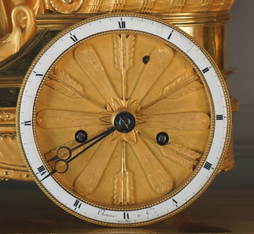 An Empire gilt bronze chariot clock by Louis Moinet case by Thomire -