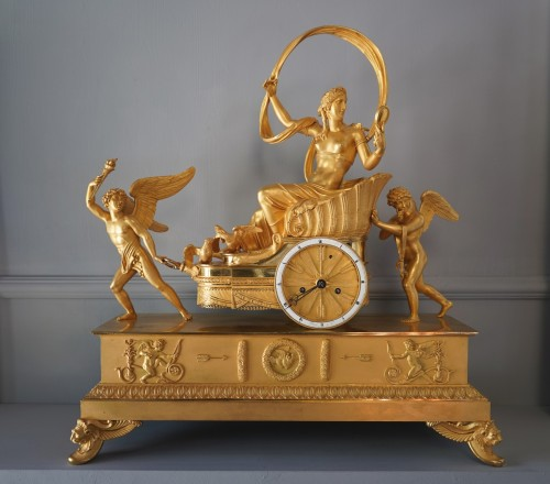 19th century - An Empire gilt bronze chariot clock by Louis Moinet case by Thomire