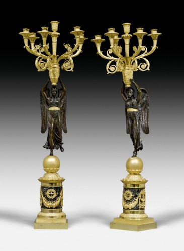 A pair of Empire six-light candelabra attributed to Pierre-Philippe Thomire -