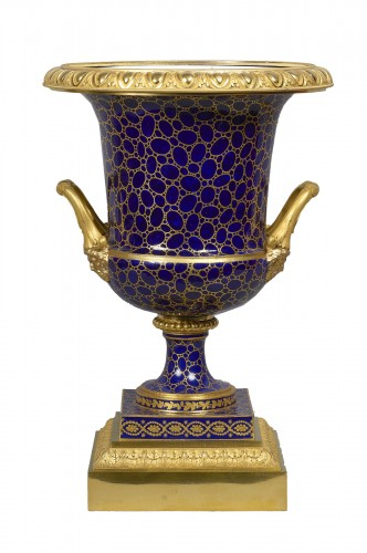A Louis XVI Sèvres porcelain Medici vase with Empire mounts