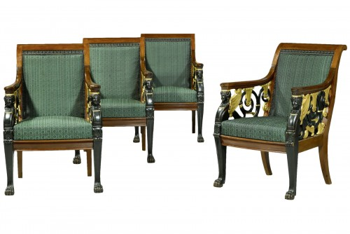A set of four Russian Empire open fauteuils