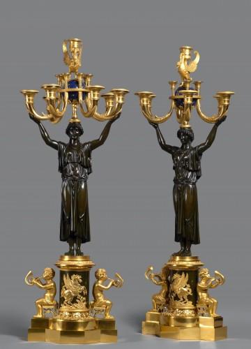 A pair of Empire seven-light candelabra - Lighting Style Empire