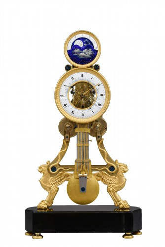 A large Directoire/Empire skeleton clock of month duration