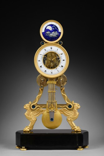 Directoire - A large Directoire/Empire skeleton clock of month duration