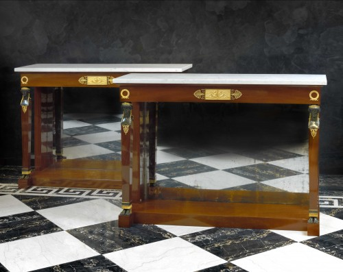 A pair of Empire consoles attributed to Bernard Molitor - Furniture Style Empire