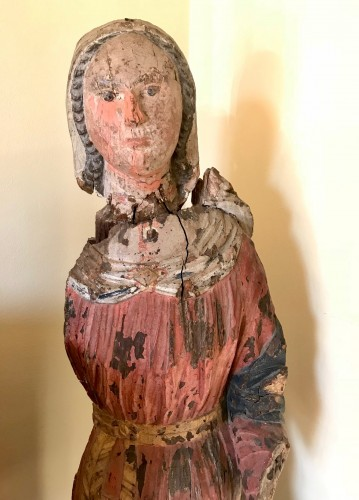 Madonna In painted Wood, Italian School, 14th Century - Sculpture Style Middle age