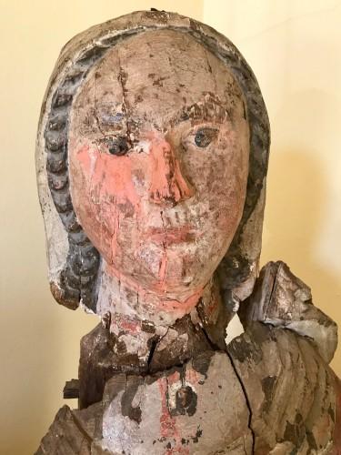 16th century - Madonna In painted Wood, Italian School, 14th Century