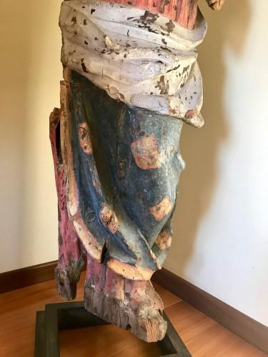 Antiquités - Madonna In painted Wood, Italian School, 14th Century