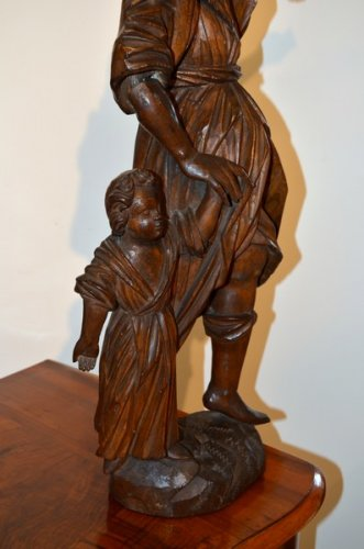 Guardian Angel, Wood Carving, early XVIIIth century - Sculpture Style