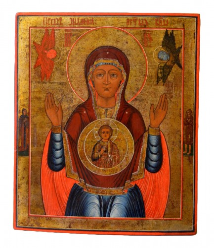 "Russian icon ""Mother Of God From the sign,"" XIXth Century"