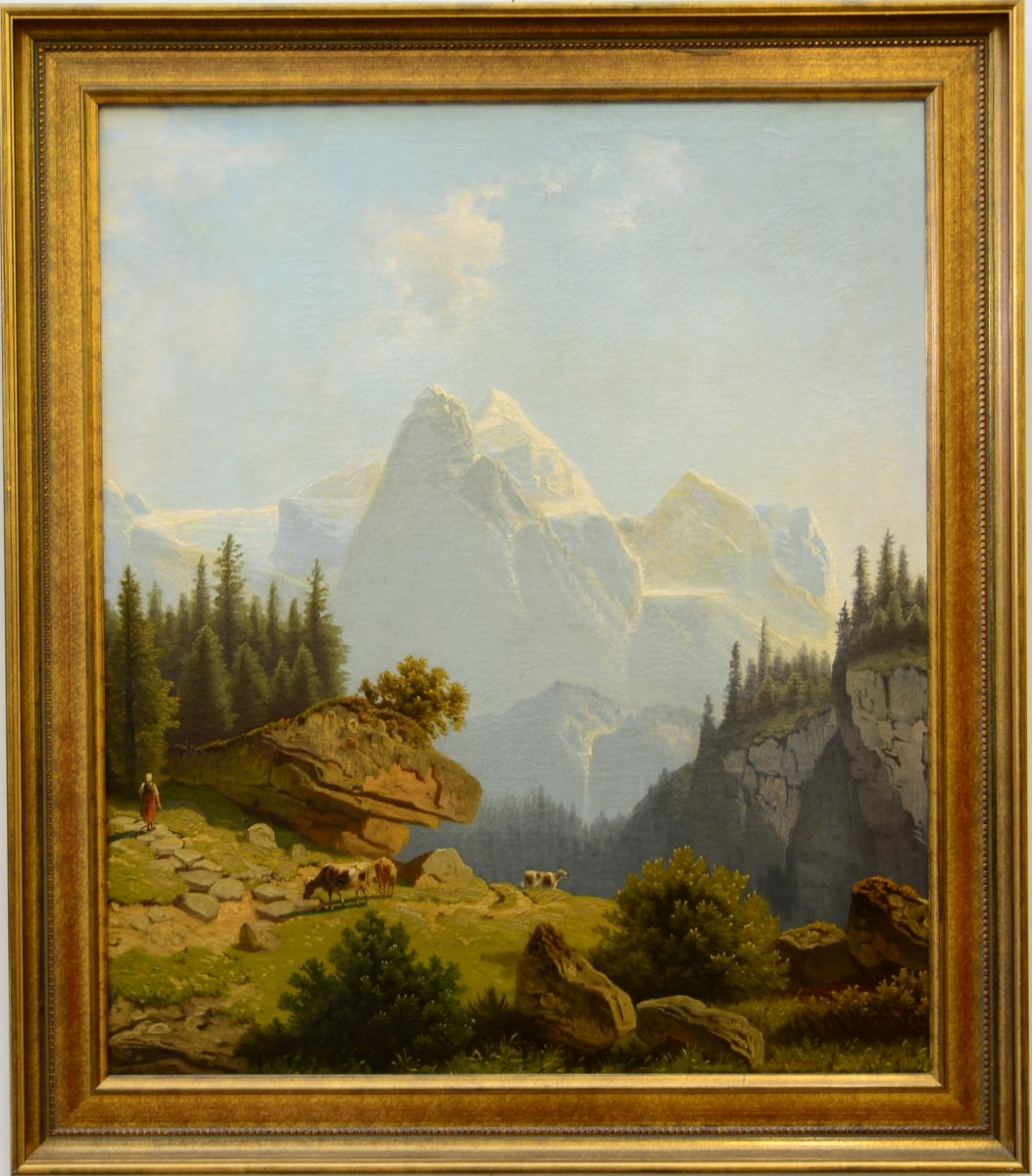 Mountain Landscape Oil On Canvas Germany Mid 19th Ref