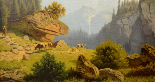 Mountain landscape, oil on canvas, Germany mid-19th - Paintings & Drawings Style