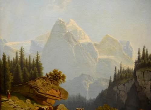 Paintings & Drawings  - Mountain landscape, oil on canvas, Germany mid-19th