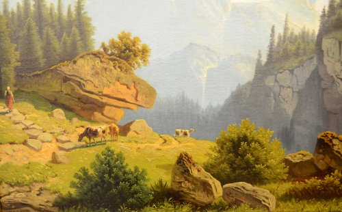 19th century - Mountain landscape, oil on canvas, Germany mid-19th
