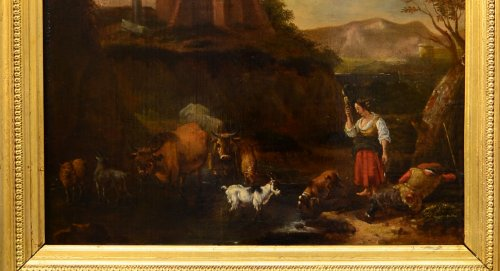 Landscape with herds, oil on panel, second half of the seventeenth century - Paintings & Drawings Style