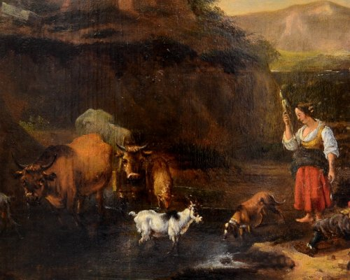 17th century - Landscape with herds, oil on panel, second half of the seventeenth century